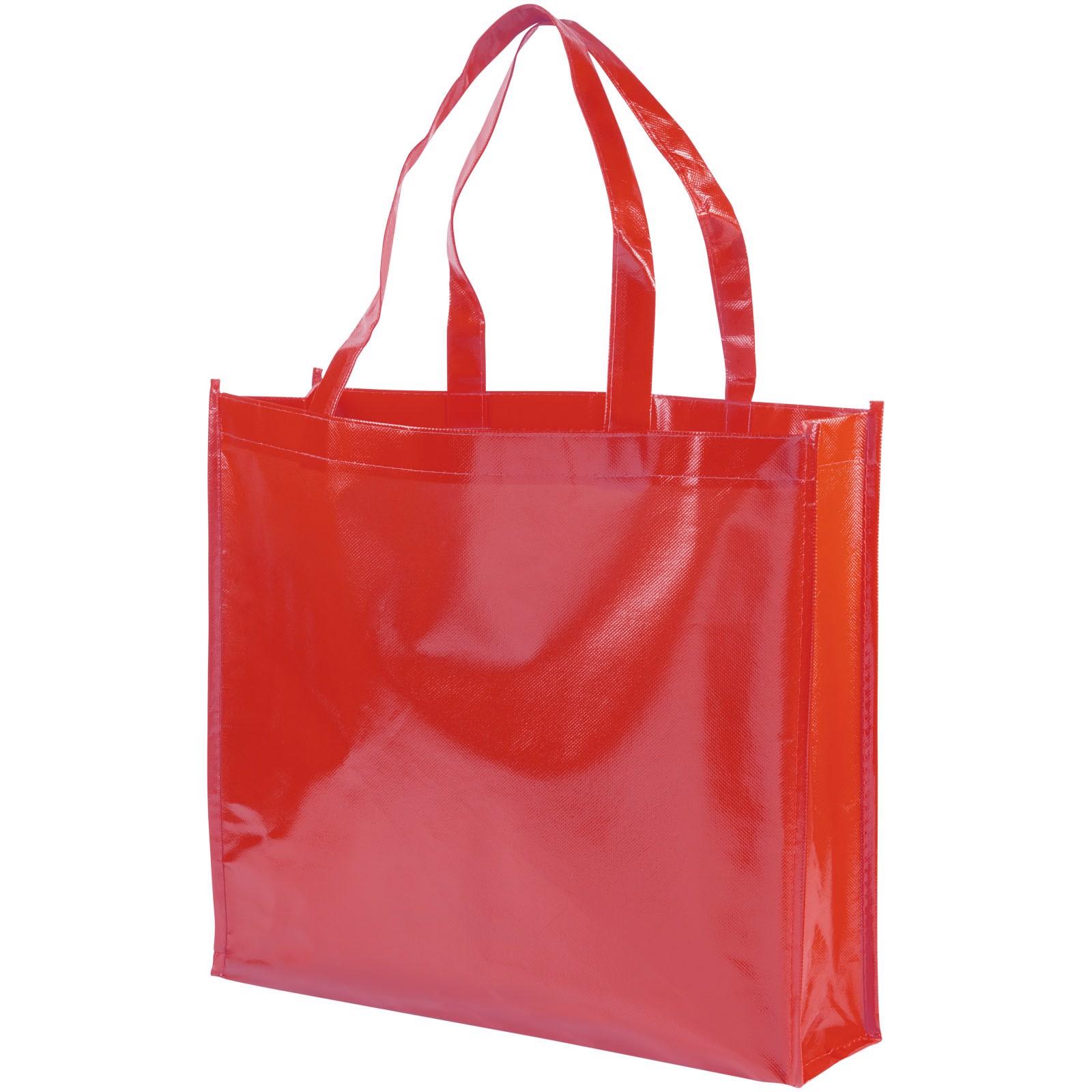 Laminovaná netkaná nákupní odnoska Shiny - Červená s efektem námrazy