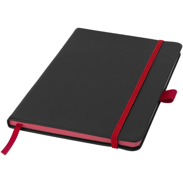 Colour-edge A5 hard cover notebook - Solid black / Red