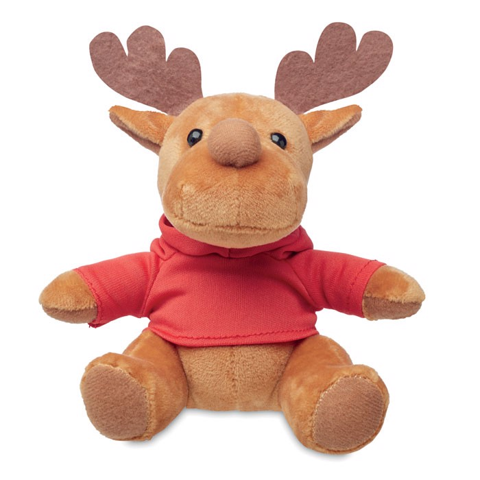 Plush reindeer with hoodie Rudolph - Red