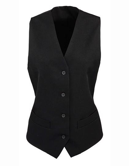 Ladies` Lined Polyester Waistcoat - Black / XXL