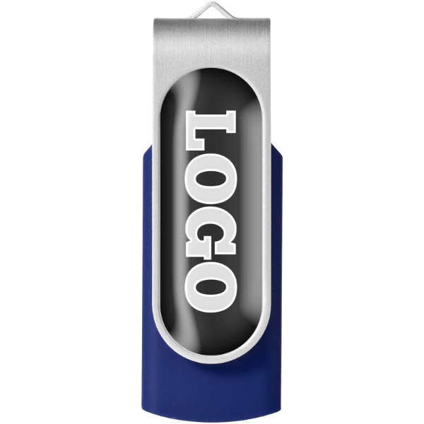 Rotate-doming 4GB USB flash drive - Blue / Silver