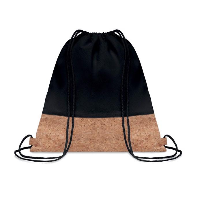 Drawstring bag cork details Illa - Black