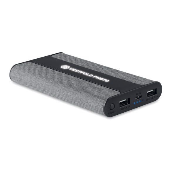 Powerbank 6000 mAh Textil Powerfabric - grau