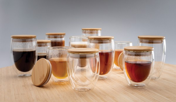 Double wall borosilicate glass with bamboo lid 350ml