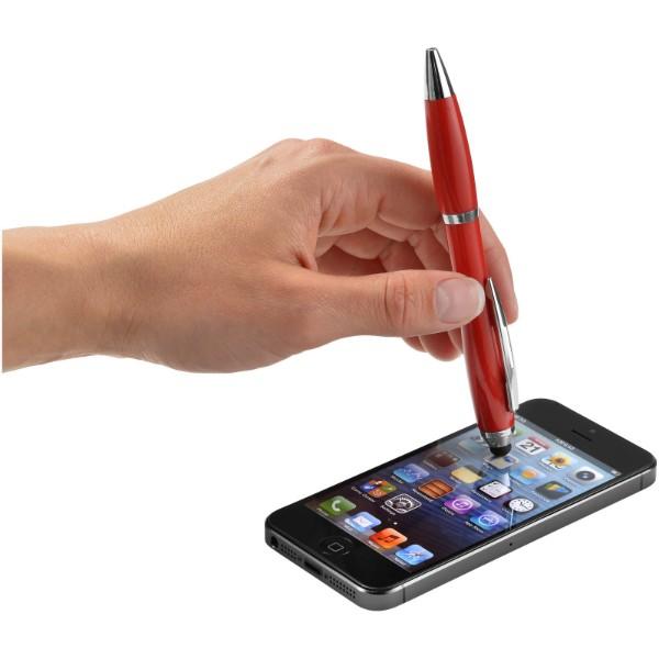 Barevné kuličkové pero a stylus Nash s barevným úchopem - Červená s efektem námrazy