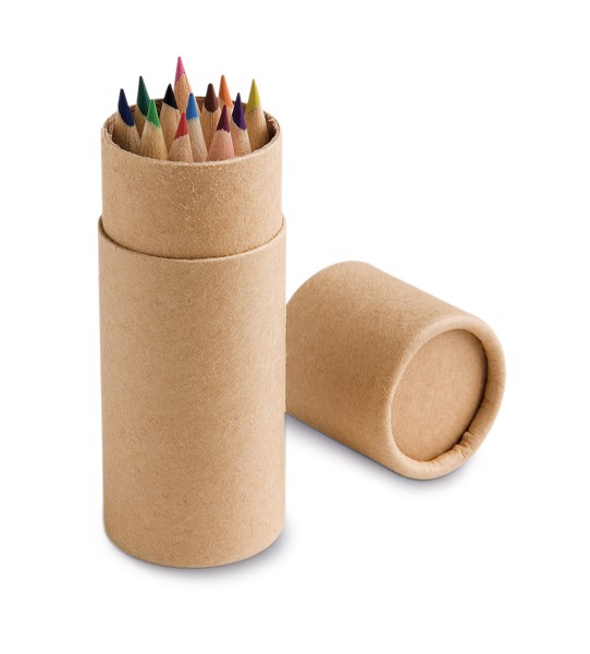 CYLINDER. Pencil box with 12 coloured pencils