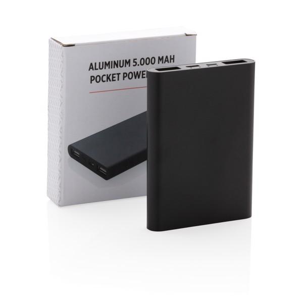 Hliníková kapesní powerbanka 5 000 mAh - Černá