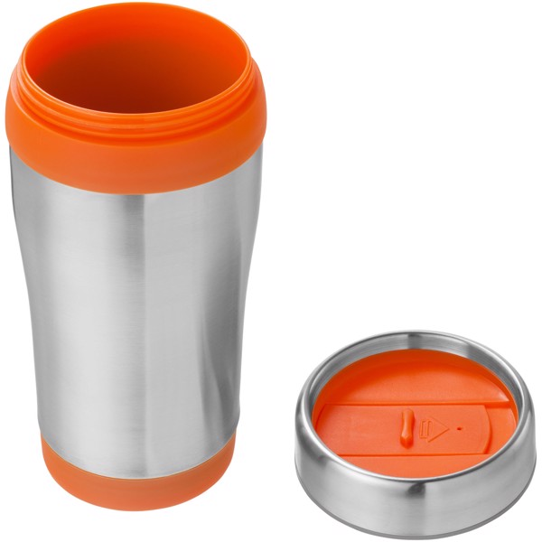 "Vaso isotérmico de 410 ml ""Elwood"" - Plateado / Naranja"