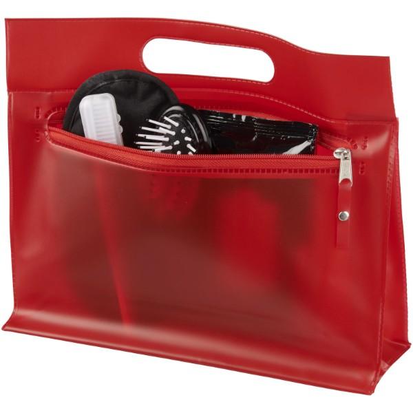 Toaletní taška Paulo z průhledného PVC - Červená s efektem námrazy