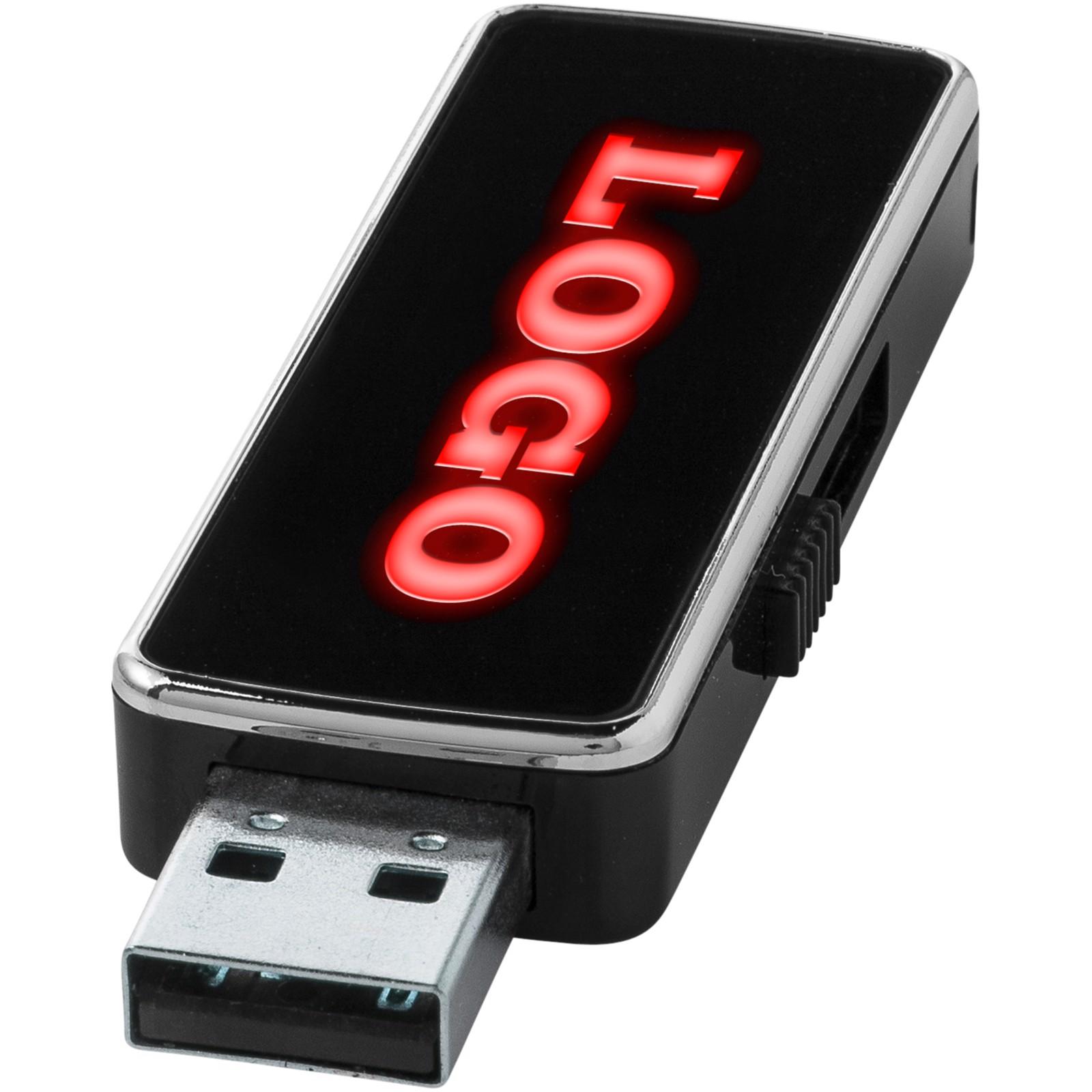 Light Up USB stick - Solid black / Red / 2GB