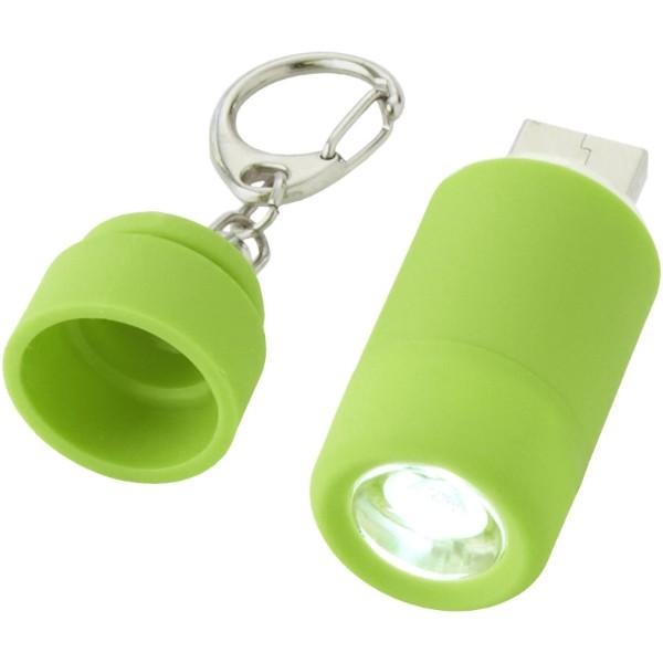 Klíčenková LED svítilna Avior s dobíjením přes USB - Limetkově zelená