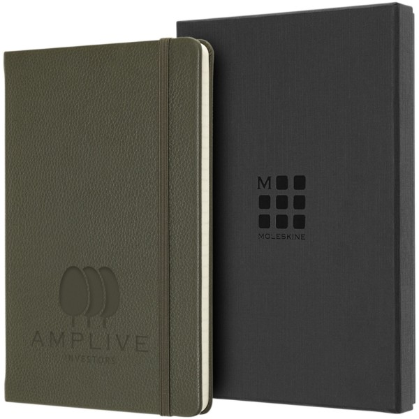 Classic L leather notebook - ruled - Moss green