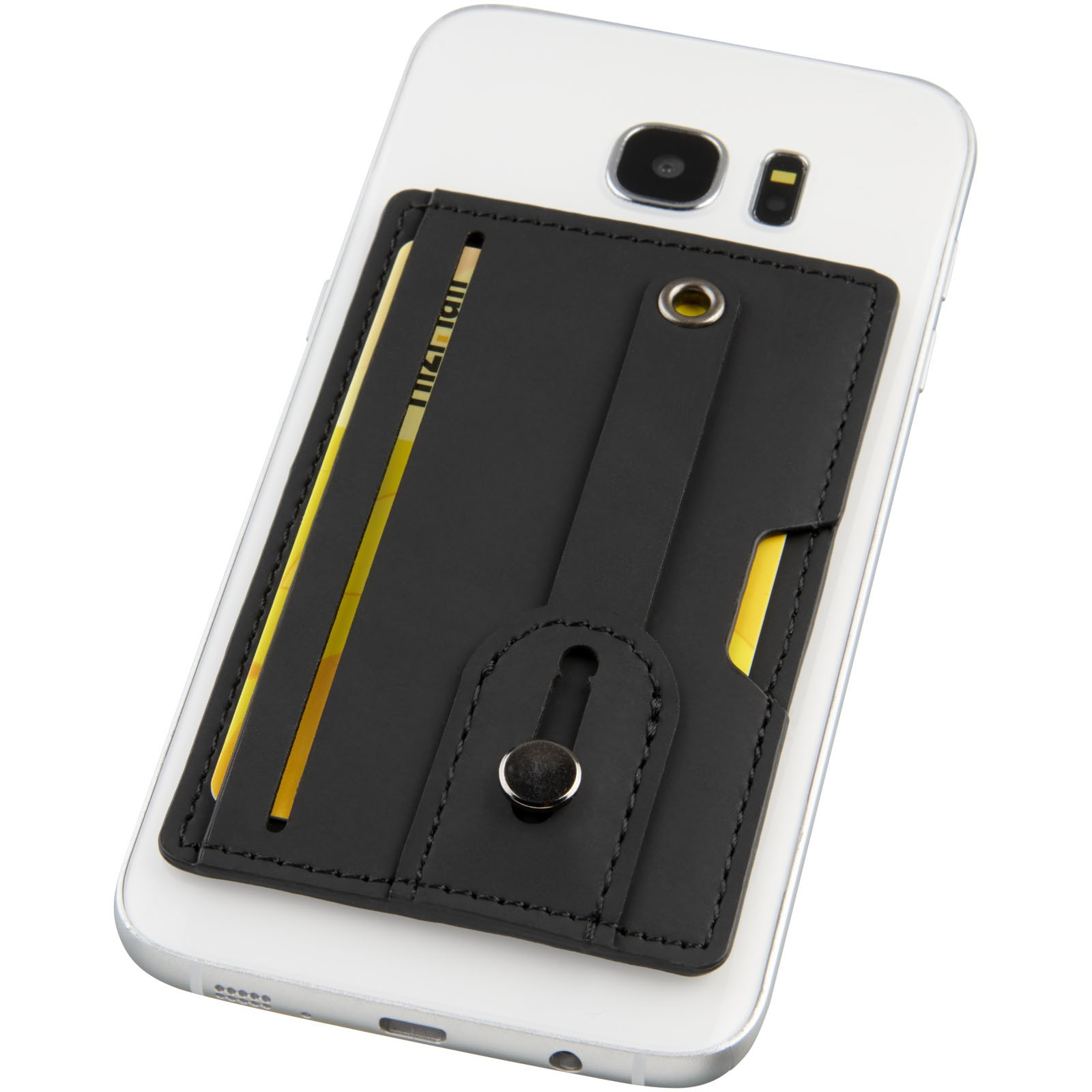 Prime RFID phone wallet with strap - Solid black