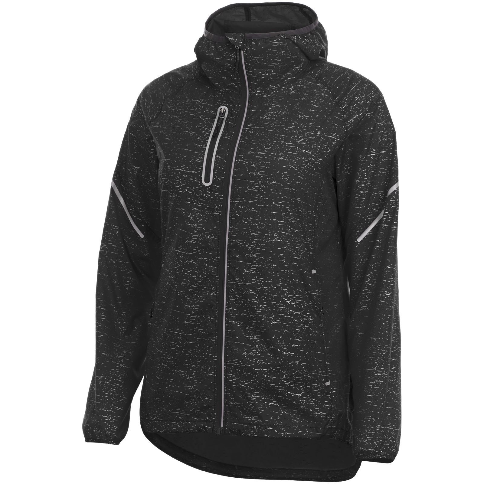 Signal reflective packable ladies jacket - Solid black / XS