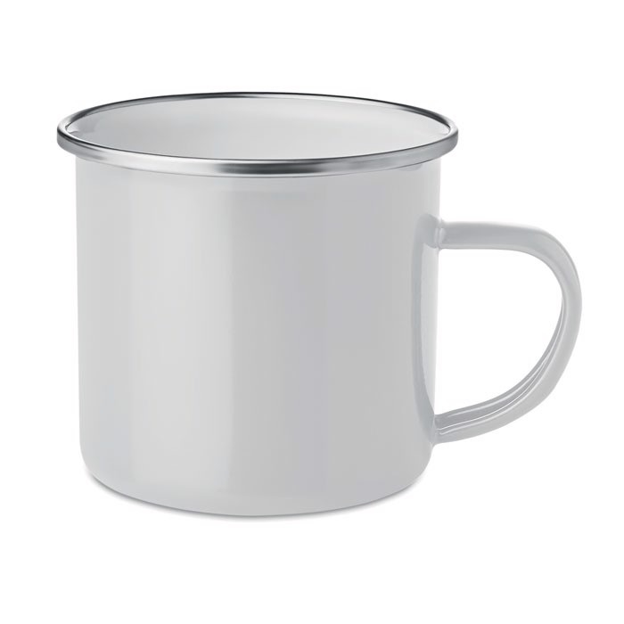 Metal mug with enamel layer Plateado - White