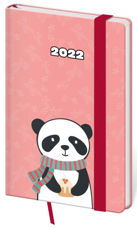 Týdenní kapesní diář Vario Panda 2022, 90x140mm s gumičkou