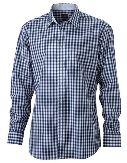 Men`S Checked Shirt - Navy / White / S