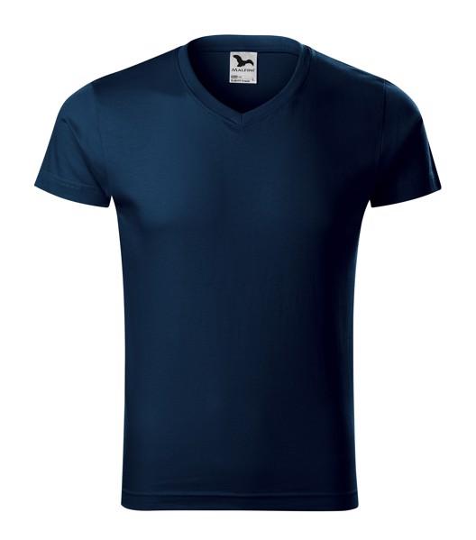 T-shirt men's Malfini Slim Fit V-neck - Navy Blue / 3XL