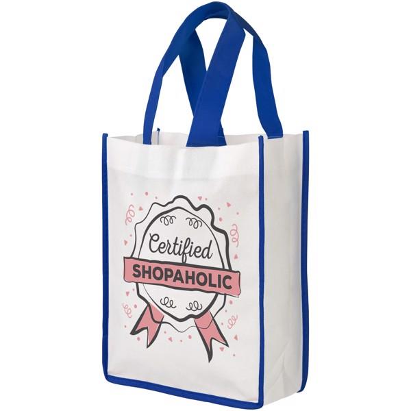 Contrast small non-woven shopping tote bag - White / Blue