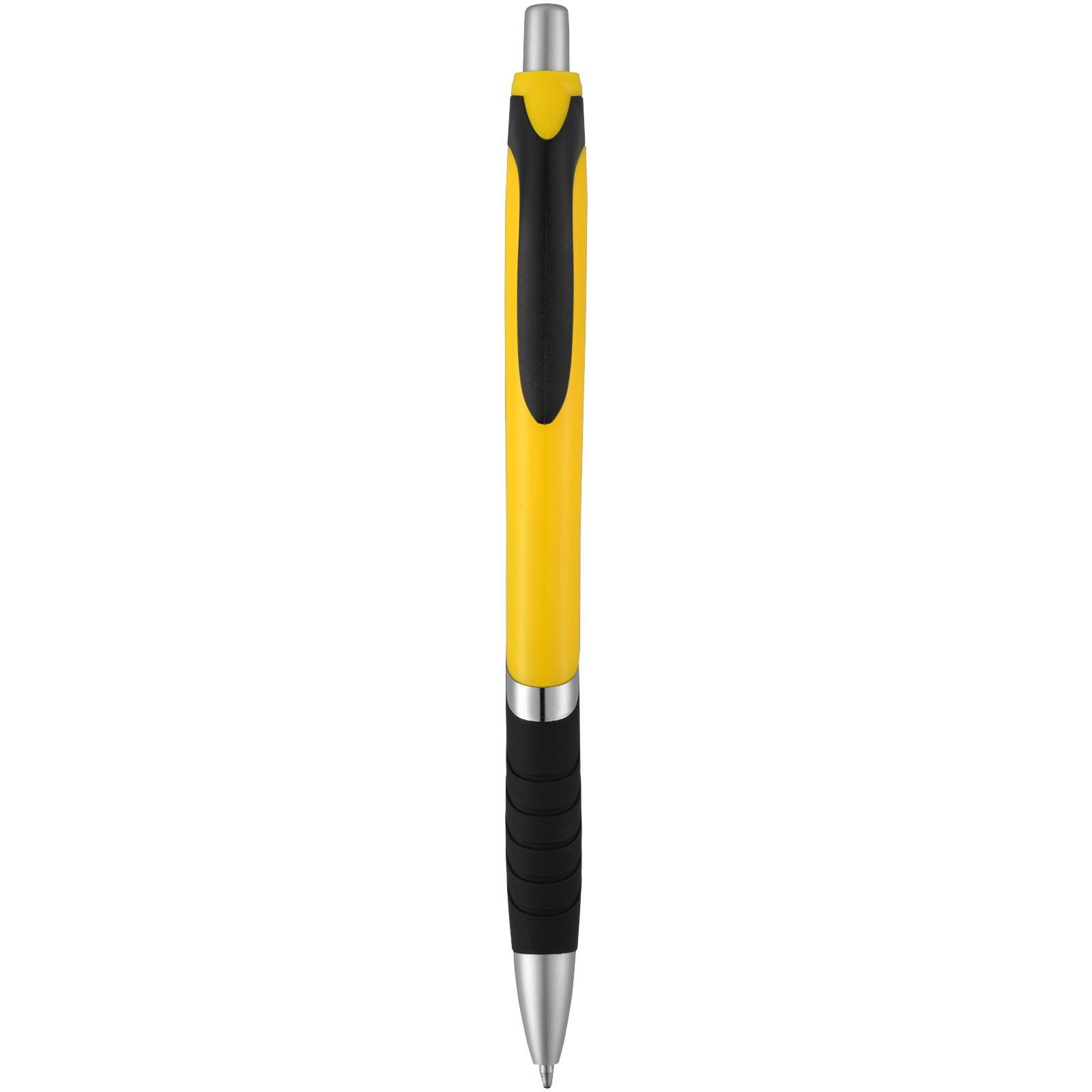 Neprůhledné kuličkové pero Turbo s pryžovým úchopem - Žlutá / Černá