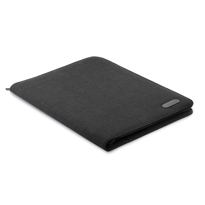 A4 zip portfolio in polyester Notes Folder - Black