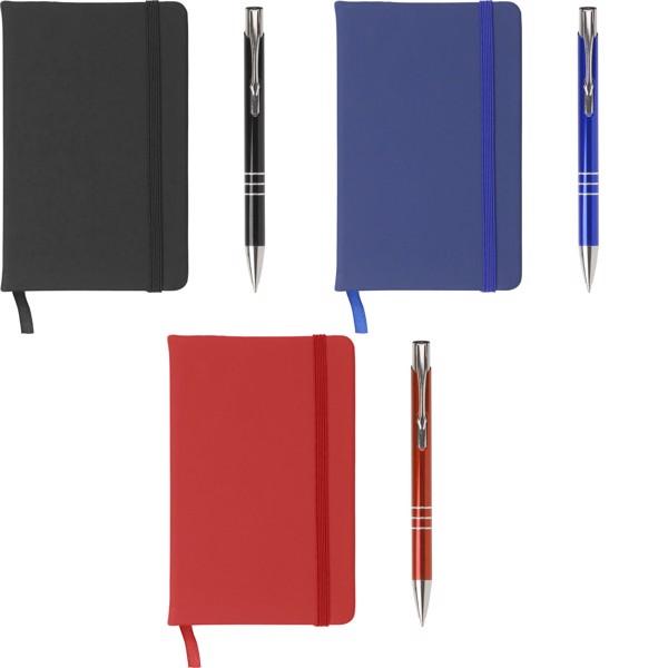 PU notebook with aluminium ballpen - Blue