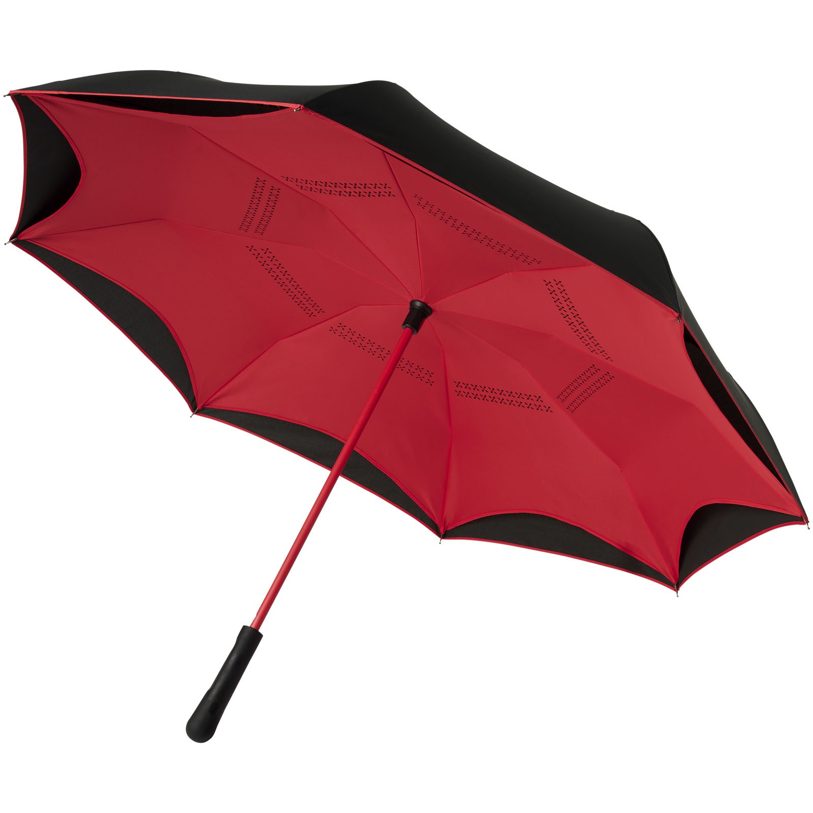 """Yoon 23"""" inverzně barevný rovný deštník - Červená s efektem námrazy / Černá"""