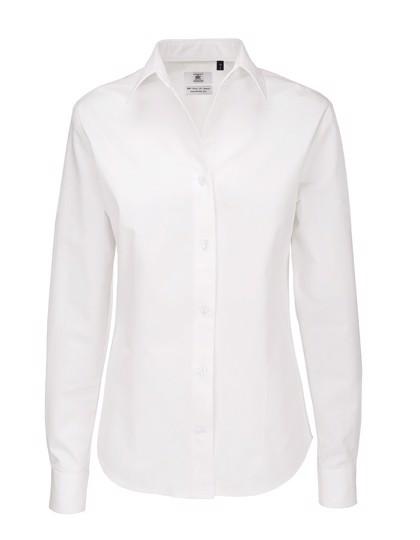 Twill Shirt Sharp Long Sleeve / Women - White / 3XL