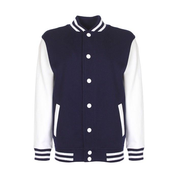 Kinder Sweatshirt 300 g/m2 Junior Varsity Jacket Fv002 - Navy / Weiß / XL