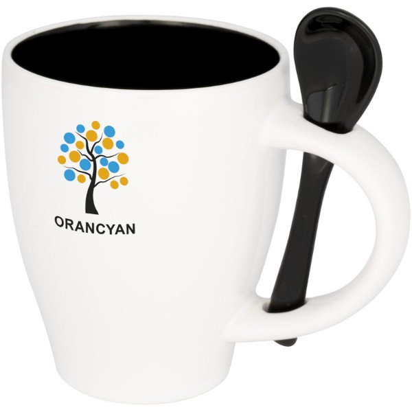 Nadu 250 ml ceramic mug with spoon - Solid black
