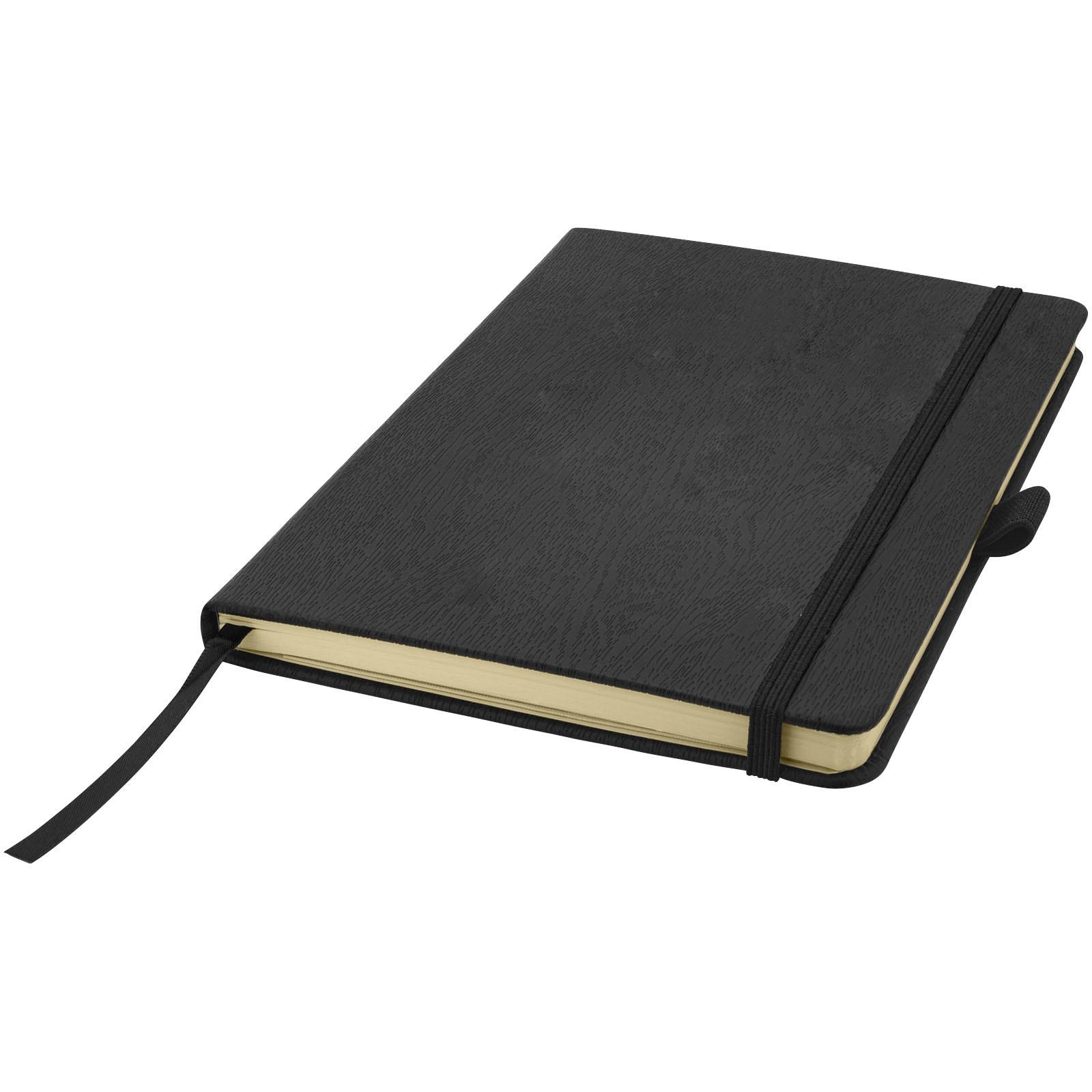 Zápisník s pevnou obálkou A5 v dřevěném dekoru - Černá