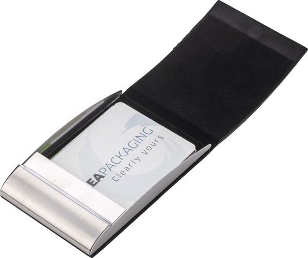 PU and stainless steel business card holder - Black