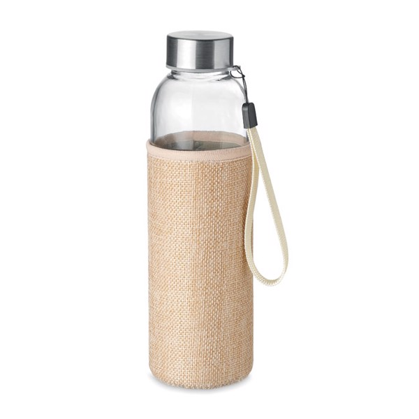 Glass bottle with burlap pouch