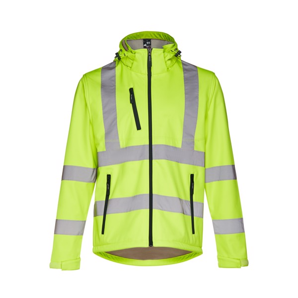 THC ZAGREB WORK. High-visibility softshell jacket for men, with removable hood - Hexachrome Yellow / L