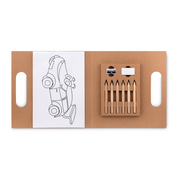 Colouring set with 6 pencils Folder2 Go