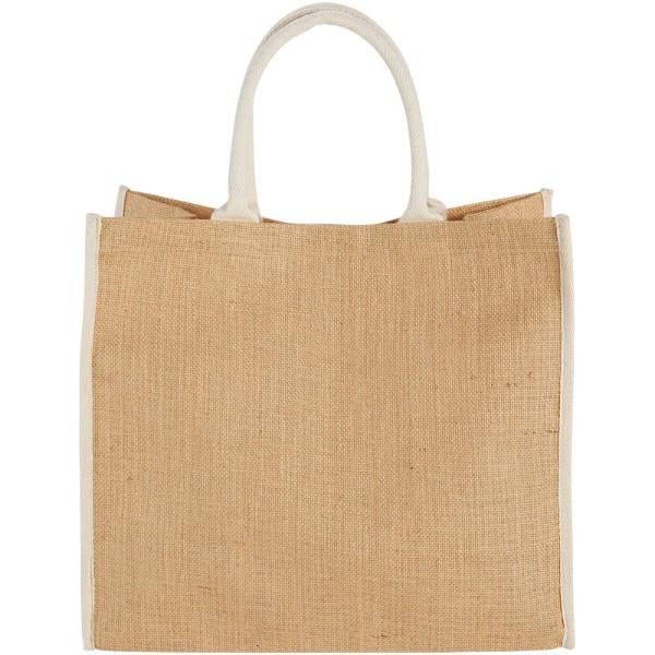 Harry coloured edge jute tote bag - Natural / White