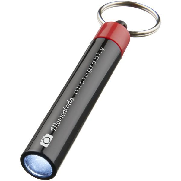 Kvalitní klíčenková svítilna Retro - Červená s efektem námrazy / Černá