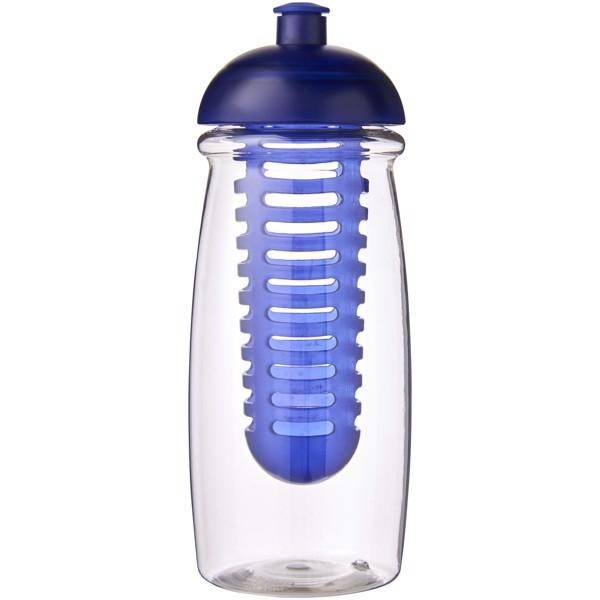 Sportovní láhev s infuzérem a kupolovitýmvíčkem H2O Pulse® 600 ml - Průhledná / Modrá