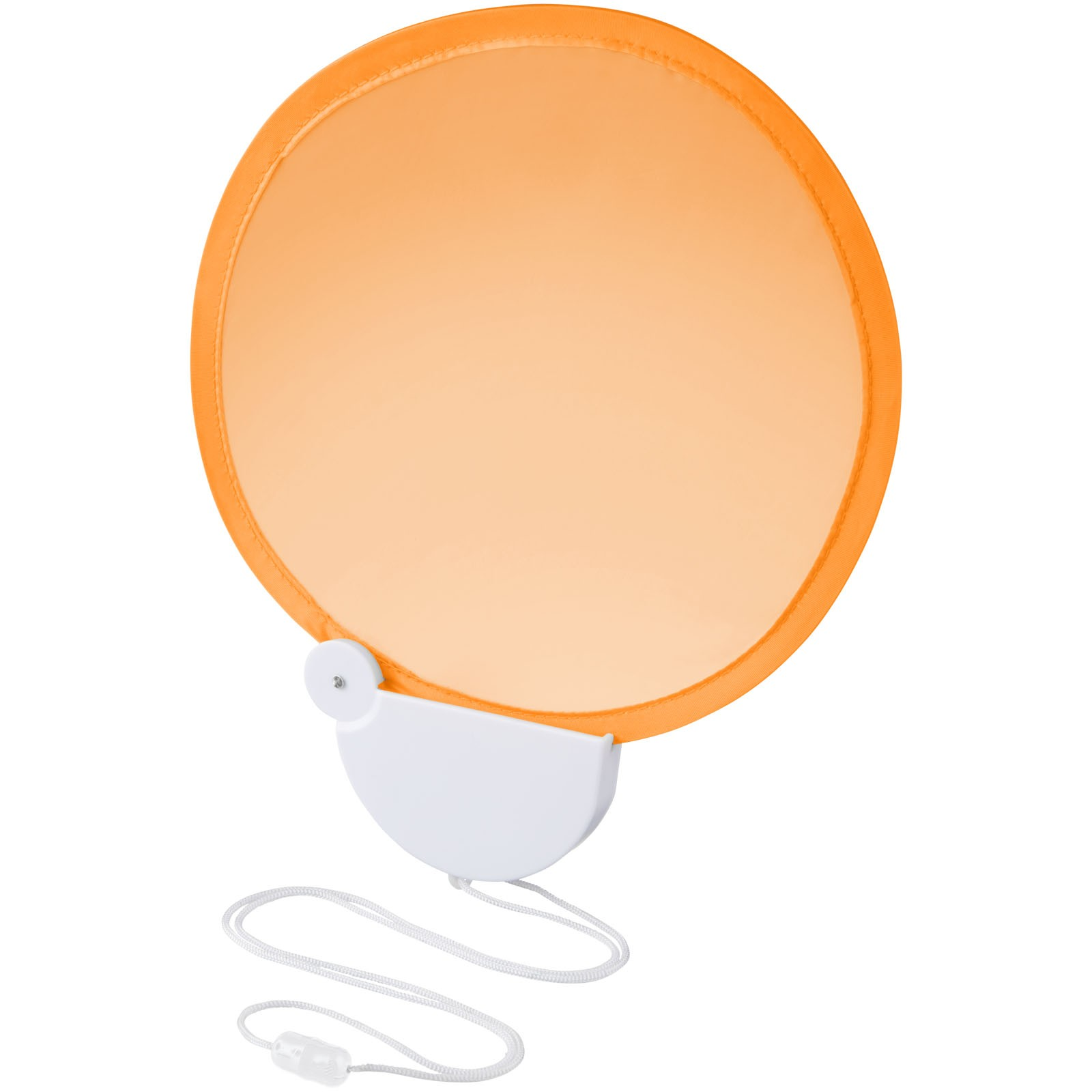 Składany wachlarz ręczny ze sznurkiem Breeze - Pomarańczowy / Biały