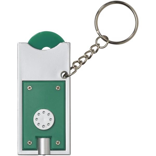 Klíčenkový držák na žeton Allegro s LED svítilnou - Zelená / Stříbrný