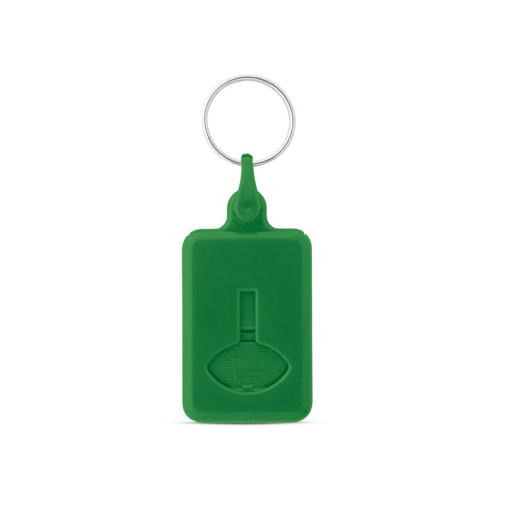 BUS. Coin-shaped keyring for supermarket trolley - Green