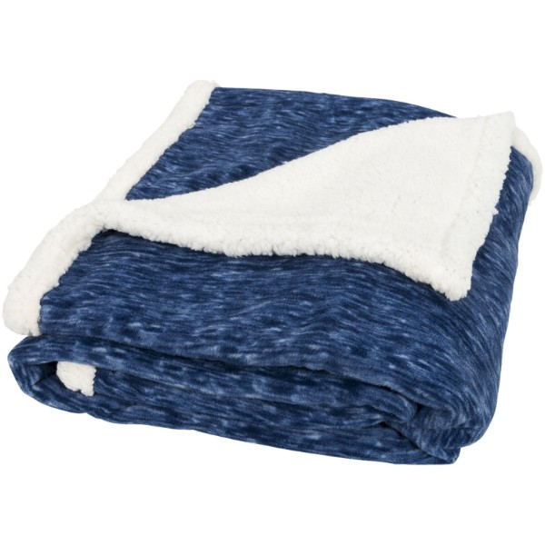 Sam heathered fleece plaid blanket - Navy