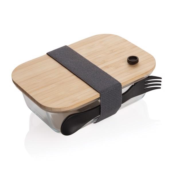 Skleněná krabička na jídlo s bambusovým víkem