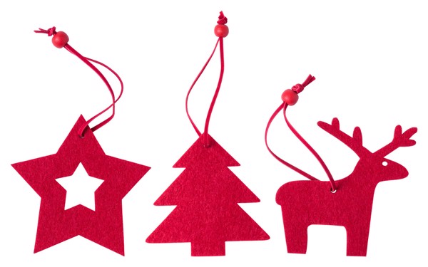 Christmas Tree Ornament Set Stuck - Red