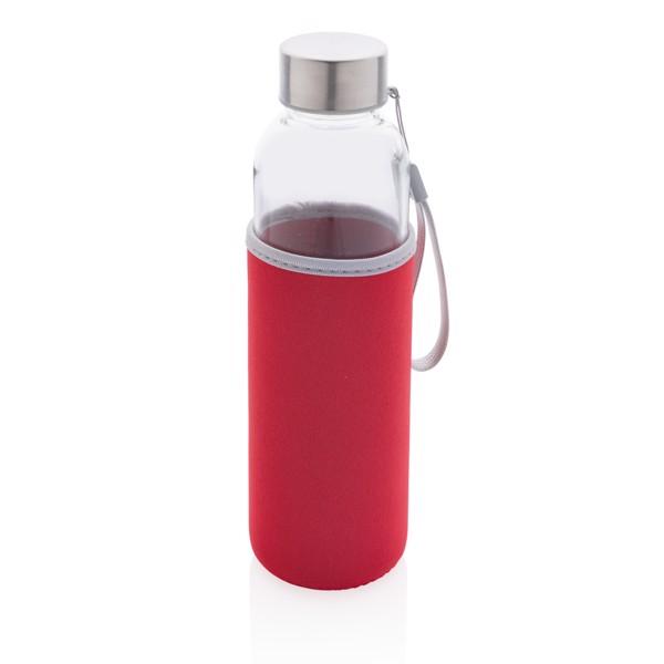 Glass bottle with neoprene sleeve - Red