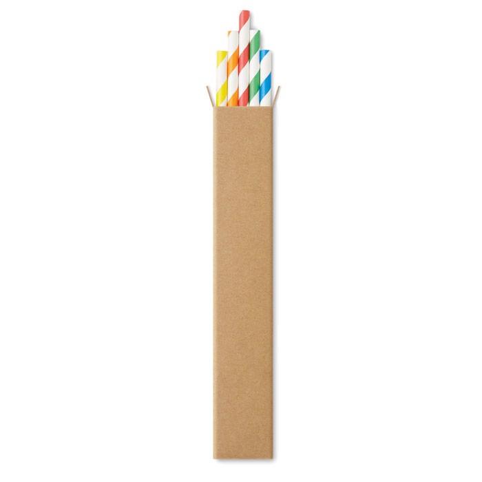 10 Papier-Trinkhalme Paper Straw - multicolour