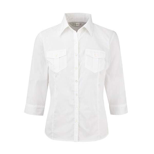 Camisa Senhora Manga 3/4 130G - 100% Sarja - Algodão - White / L