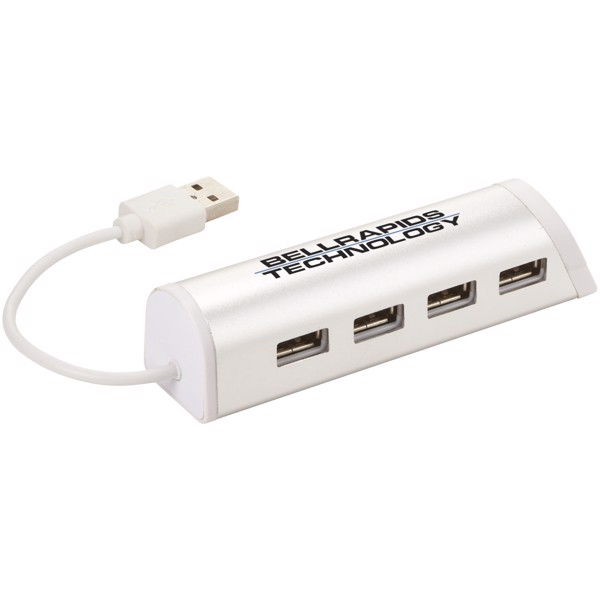 Hliníkový rozbočovač se 4 porty USB Power a stojánek telefon - Silver