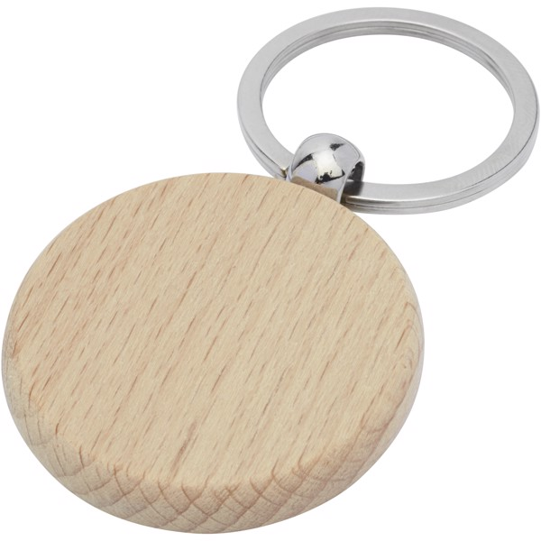 Giovanni beech wood round keychain