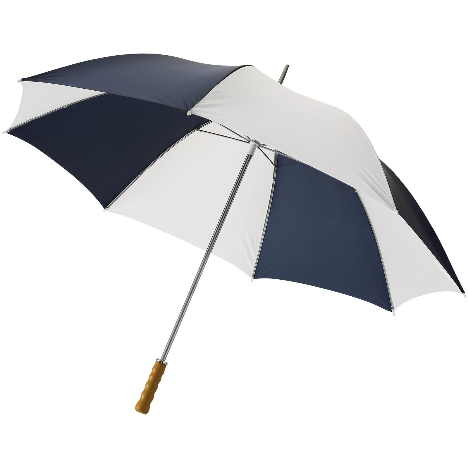 """30"""" golfový deštník Karl s dřevěnou rukojetí - Navy / White Solid"""